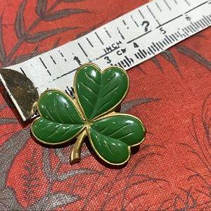 Vintage 3 leaf clover enamel metal pin shamrock